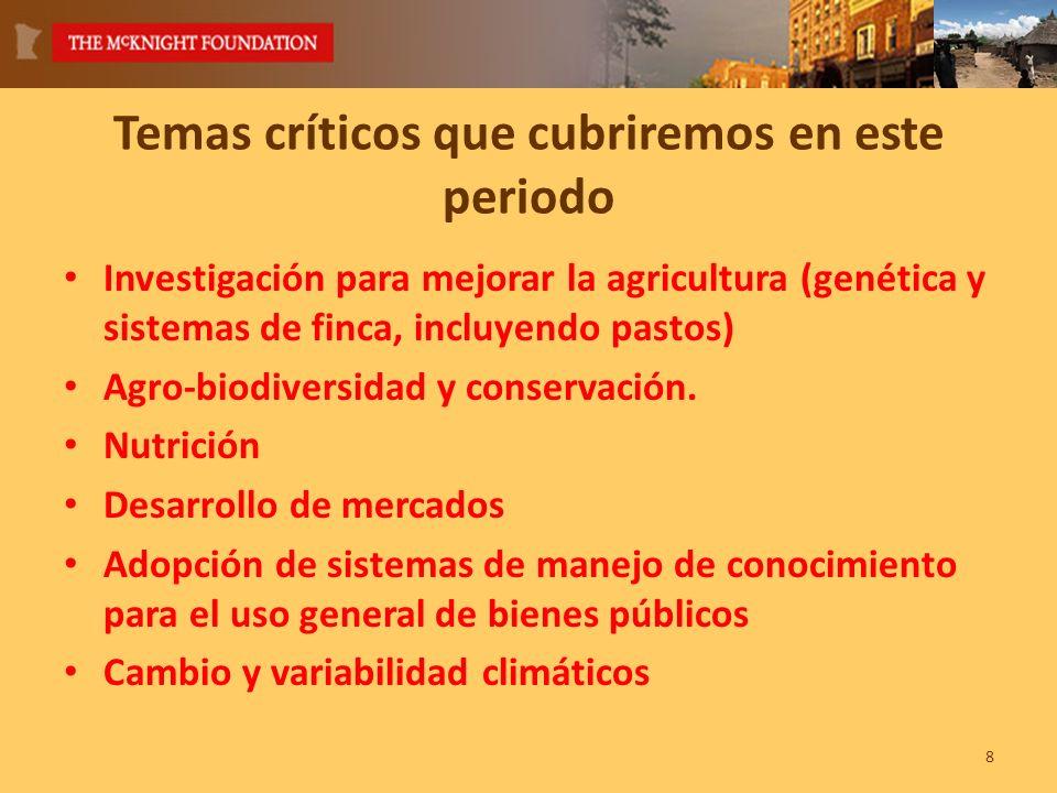 Temas críticos que cubriremos en este periodo Investigación para mejorar la agricultura (genética y sistemas de finca, incluyendo pastos) Agro-biodiversidad y conservación.