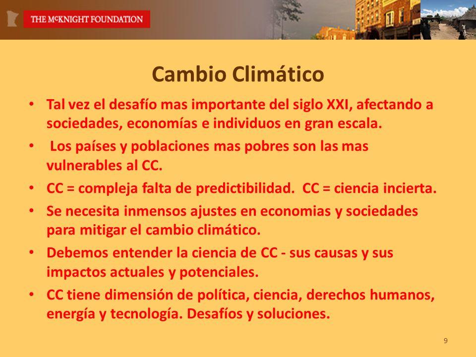 Cambio Climático Tal vez el desafío mas importante del siglo XXI, afectando a sociedades, economías e individuos en gran escala.
