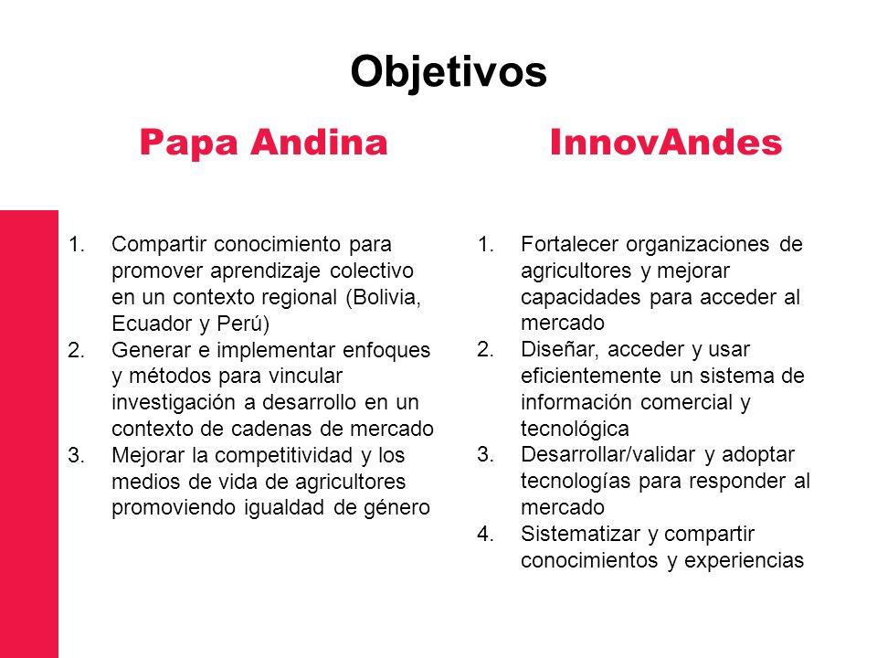 Papa Andina 1.Compartir conocimiento para promover aprendizaje colectivo en un contexto regional (Bolivia, Ecuador y Perú) 2.Generar e implementar enf