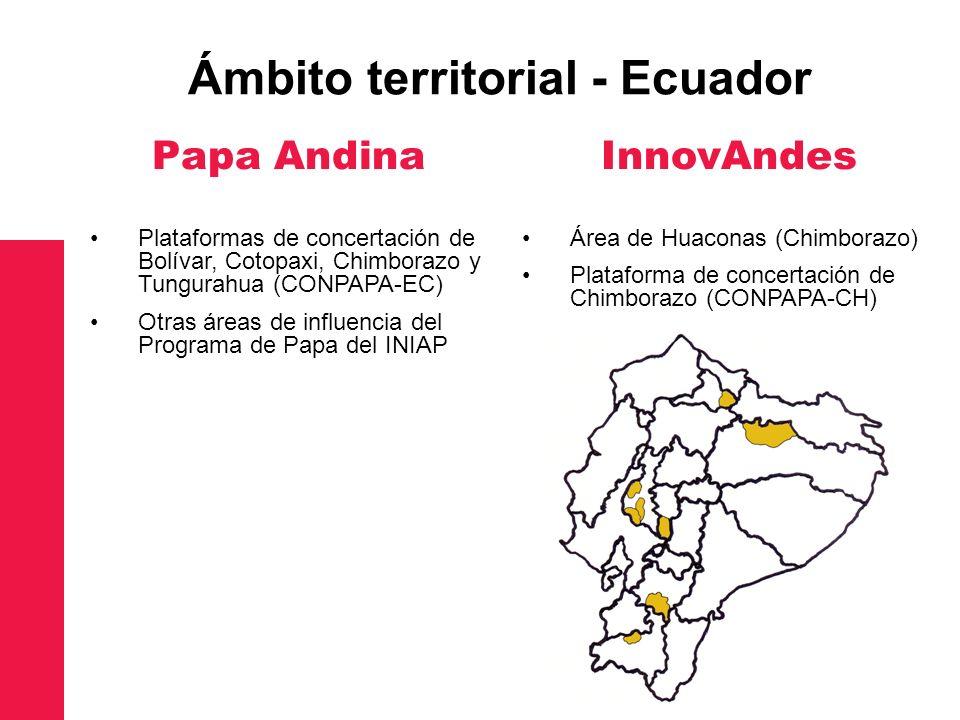 Papa Andina Plataformas de concertación de Bolívar, Cotopaxi, Chimborazo y Tungurahua (CONPAPA-EC) Otras áreas de influencia del Programa de Papa del