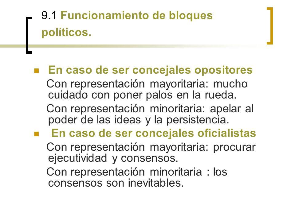 9.1 Funcionamiento de bloques políticos.