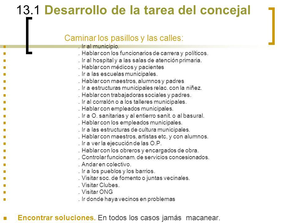 13.1 Desarrollo de la tarea del concejal Caminar los pasillos y las calles:.
