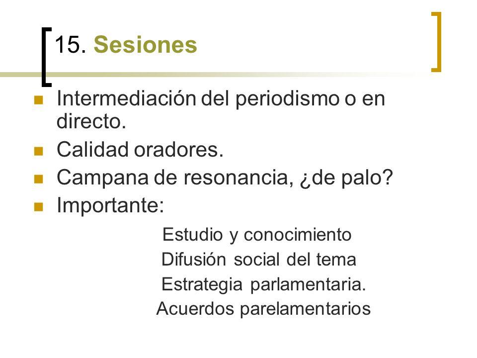 15. Sesiones Intermediación del periodismo o en directo.