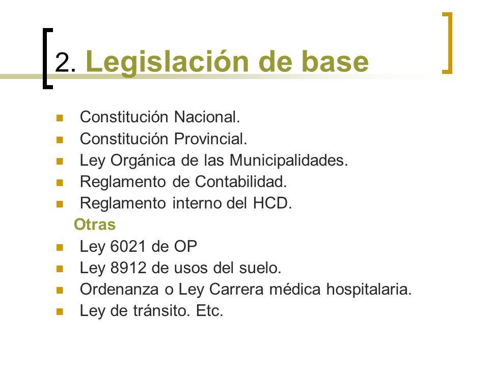 2. Legislación de base Constitución Nacional. Constitución Provincial.