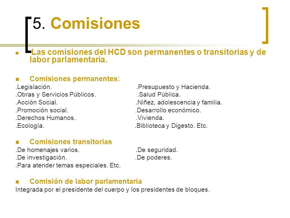 5. Comisiones Las comisiones del HCD son permanentes o transitorias y de labor parlamentaria.