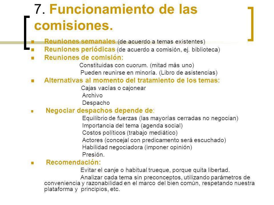 7. Funcionamiento de las comisiones.