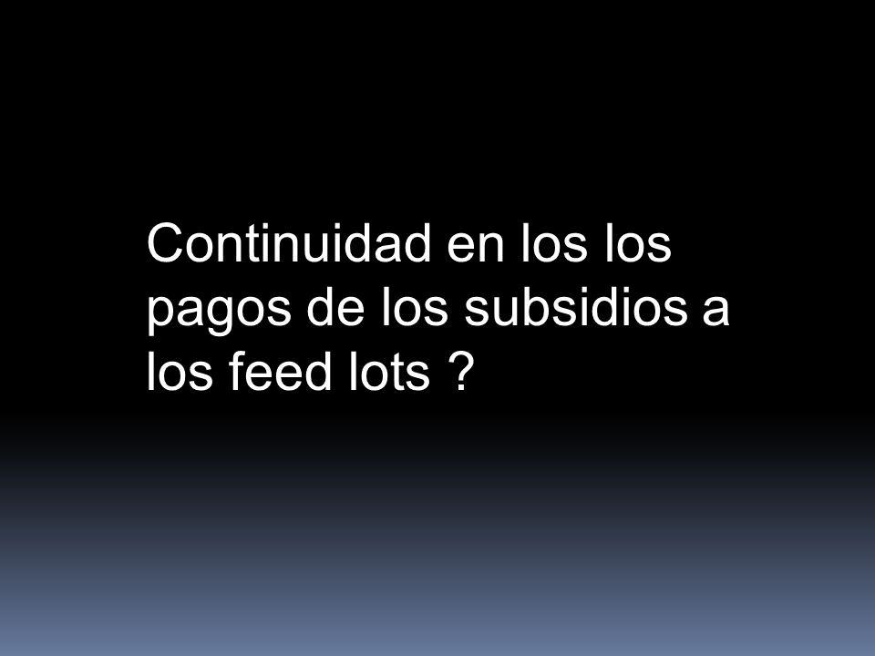 Continuidad en los los pagos de los subsidios a los feed lots
