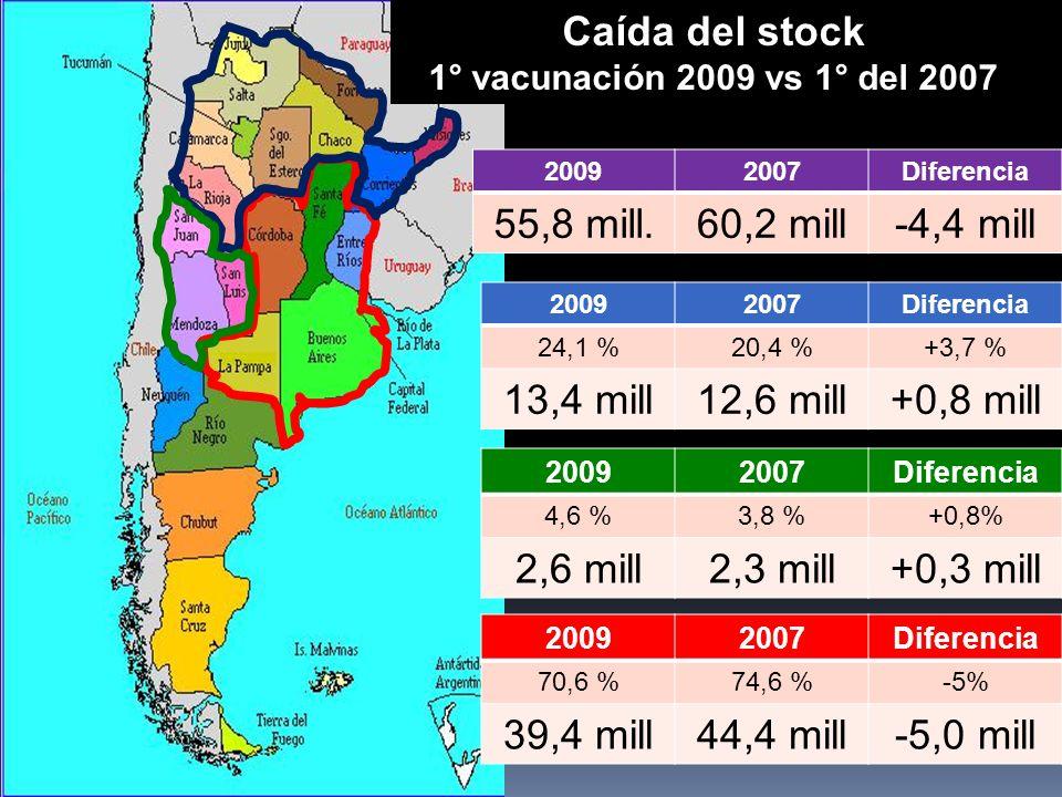 20092007Diferencia 70,6 %74,6 %-5% 39,4 mill44,4 mill-5,0 mill 20092007Diferencia 24,1 %20,4 %+3,7 % 13,4 mill12,6 mill+0,8 mill 20092007Diferencia 4,6 %3,8 %+0,8% 2,6 mill2,3 mill+0,3 mill Caída del stock 1° vacunación 2009 vs 1° del 2007 20092007Diferencia 55,8 mill.60,2 mill-4,4 mill