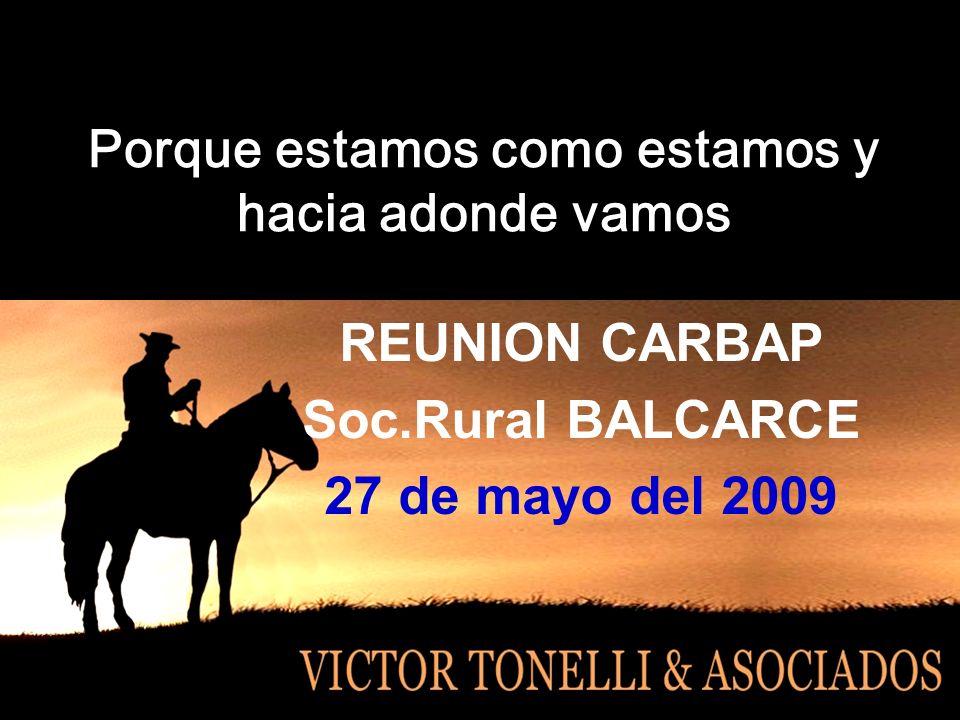 Porque estamos como estamos y hacia adonde vamos REUNION CARBAP Soc.Rural BALCARCE 27 de mayo del 2009