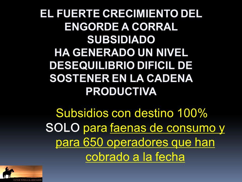 Subsidios con destino 100% SOLO para faenas de consumo y para 650 operadores que han cobrado a la fecha EL FUERTE CRECIMIENTO DEL ENGORDE A CORRAL SUBSIDIADO HA GENERADO UN NIVEL DESEQUILIBRIO DIFICIL DE SOSTENER EN LA CADENA PRODUCTIVA
