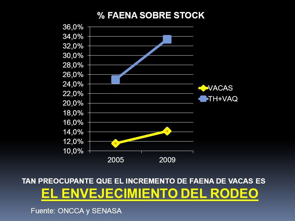TAN PREOCUPANTE QUE EL INCREMENTO DE FAENA DE VACAS ES EL ENVEJECIMIENTO DEL RODEO Fuente: ONCCA y SENASA