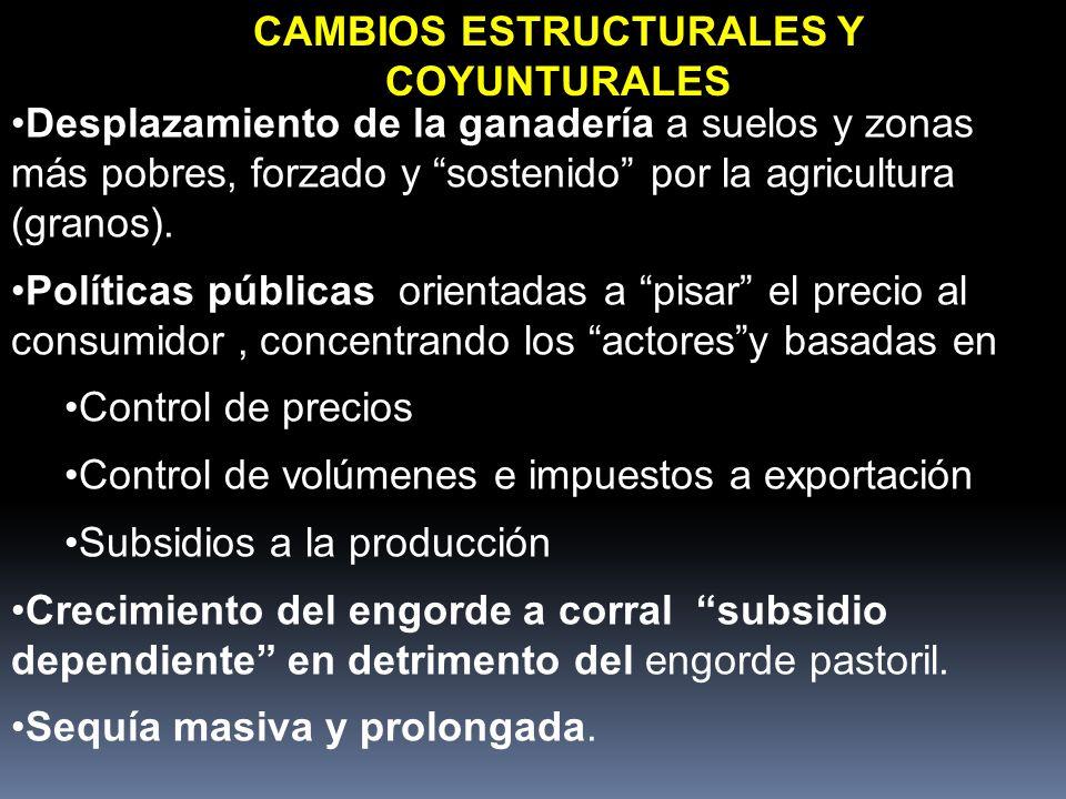 CAMBIOS ESTRUCTURALES Y COYUNTURALES Desplazamiento de la ganadería a suelos y zonas más pobres, forzado y sostenido por la agricultura (granos). Polí