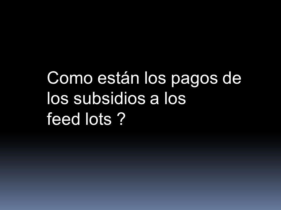 Como están los pagos de los subsidios a los feed lots ?