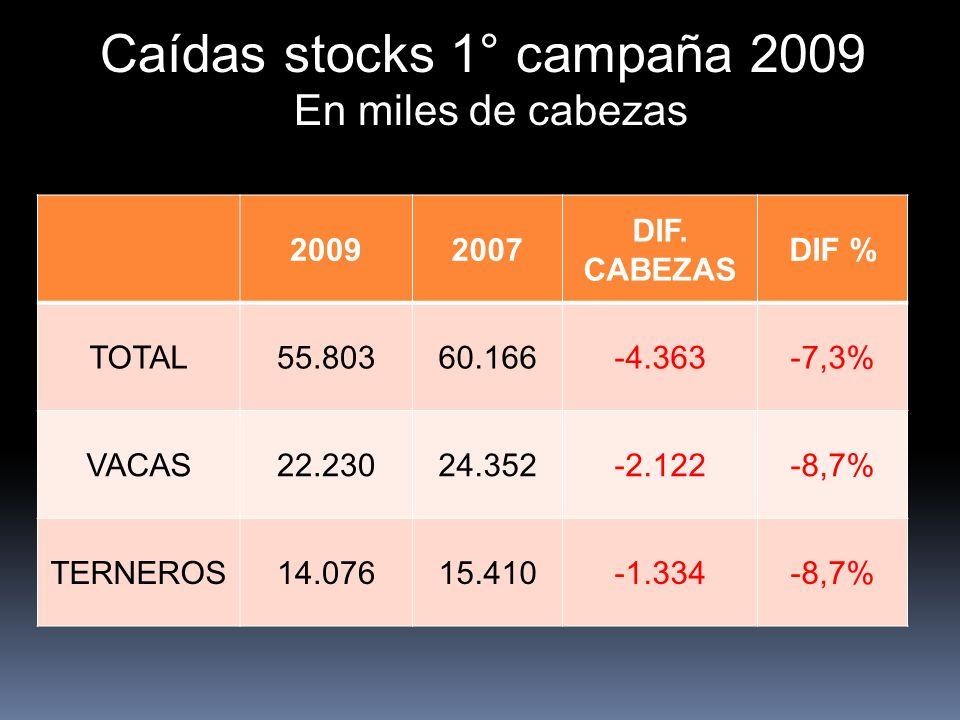 Caídas stocks 1° campaña 2009 En miles de cabezas 20092007 DIF. CABEZAS DIF % TOTAL55.80360.166-4.363-7,3% VACAS22.23024.352-2.122-8,7% TERNEROS14.076
