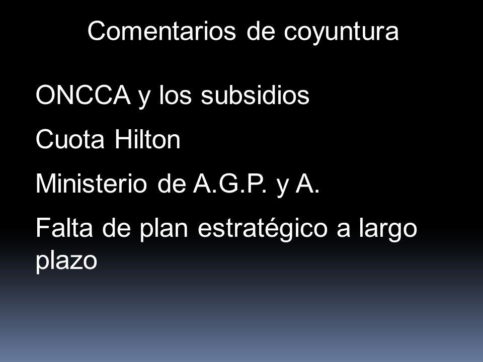 Comentarios de coyuntura ONCCA y los subsidios Cuota Hilton Ministerio de A.G.P. y A. Falta de plan estratégico a largo plazo