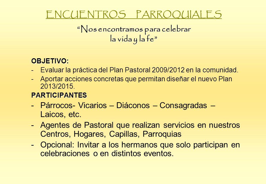 Nos encontramos para celebrar la vida y la fe ENCUENTROS PARROQUIALES Nos encontramos para celebrar la vida y la fe OBJETIVO: -Evaluar la práctica del Plan Pastoral 2009/2012 en la comunidad.