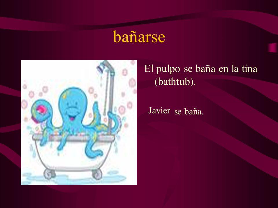 bañarse El pulpo se baña en la tina (bathtub). Javier se baña.