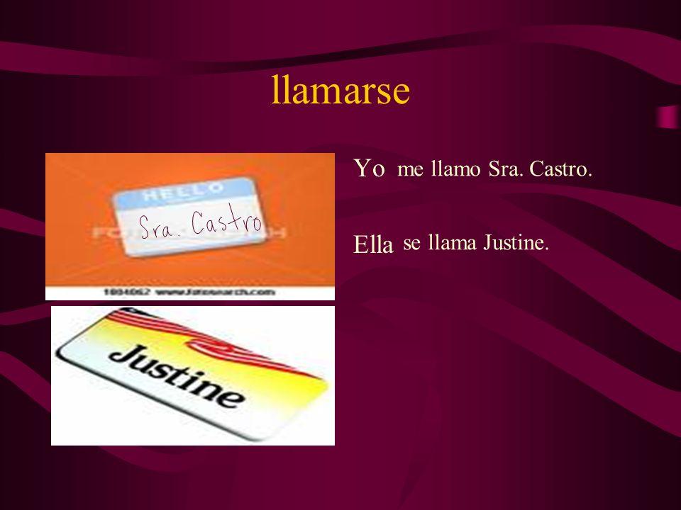 llamarse Yo Ella me llamo Sra. Castro. se llama Justine.