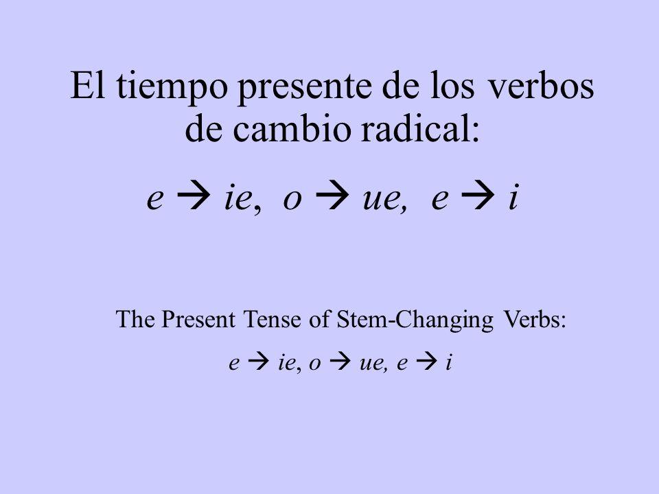 The Present Tense of Stem-Changing Verbs: e ie, o ue, e i El tiempo presente de los verbos de cambio radical: e ie, o ue, e i