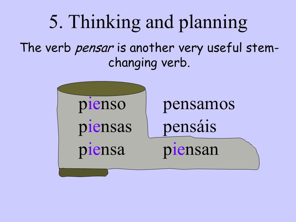 pienso piensas piensa pensamos pensáis piensan 5. Thinking and planning The verb pensar is another very useful stem- changing verb.