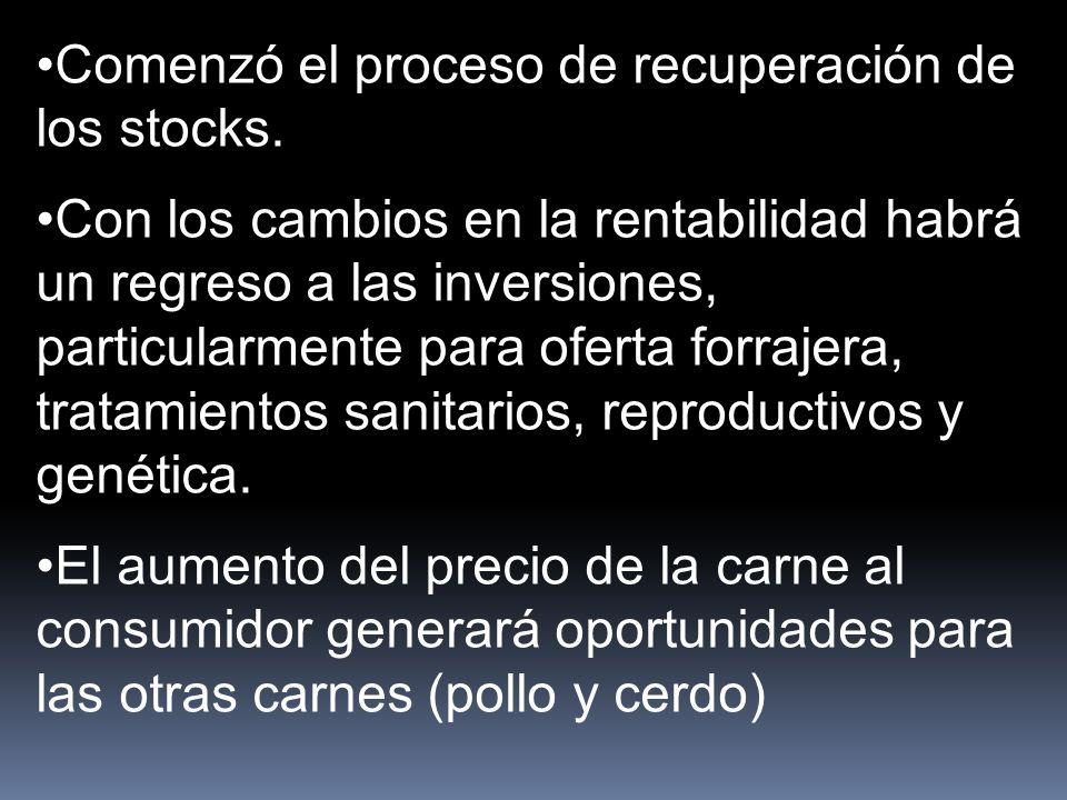 Comenzó el proceso de recuperación de los stocks.