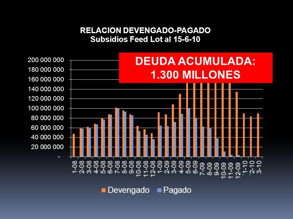 DEUDA ACUMULADA: 1.300 MILLONES
