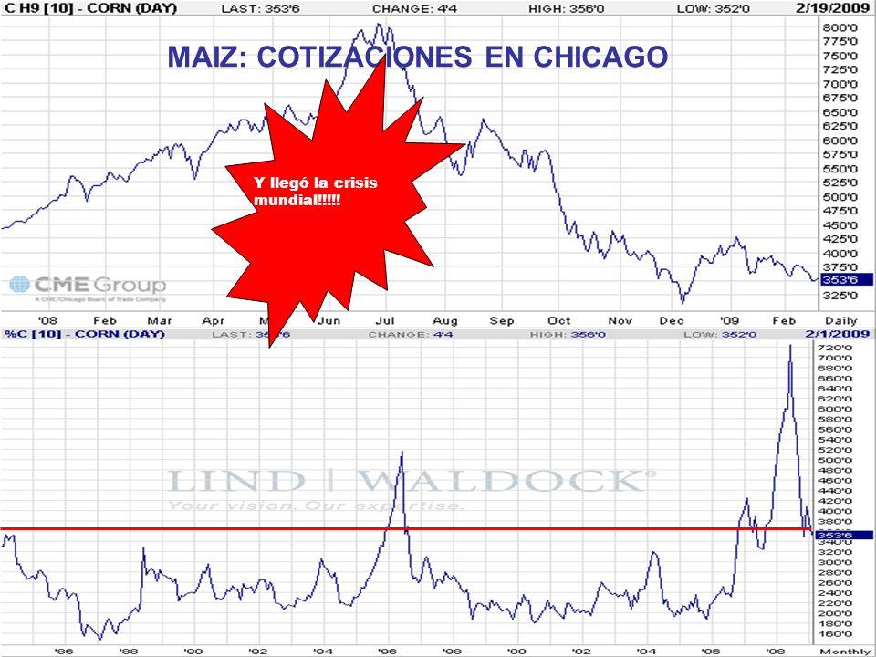 MAIZ: COTIZACIONES EN CHICAGO Y llegó la crisis mundial!!!!!