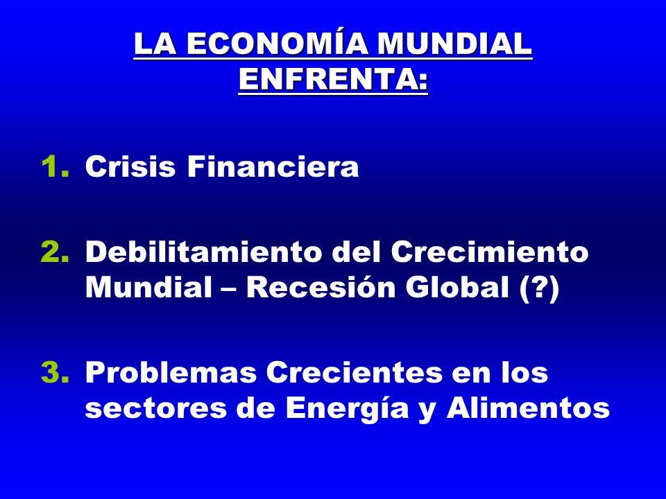 LA ECONOMÍA MUNDIAL ENFRENTA: 1.Crisis Financiera 2.Debilitamiento del Crecimiento Mundial – Recesión Global ( ) 3.Problemas Crecientes en los sectores de Energía y Alimentos