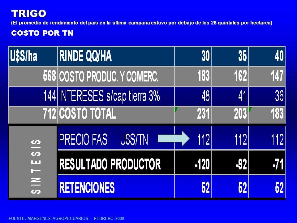 TRIGO (El promedio de rendimiento del país en la última campaña estuvo por debajo de los 28 quintales por hectárea) COSTO POR TN FUENTE: MARGENES AGROPECUARIOS – FEBRERO 2009