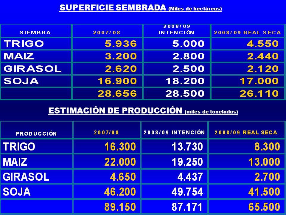 SUPERFICIE SEMBRADA (Miles de hectáreas) ESTIMACIÓN DE PRODUCCIÓN (miles de toneladas)