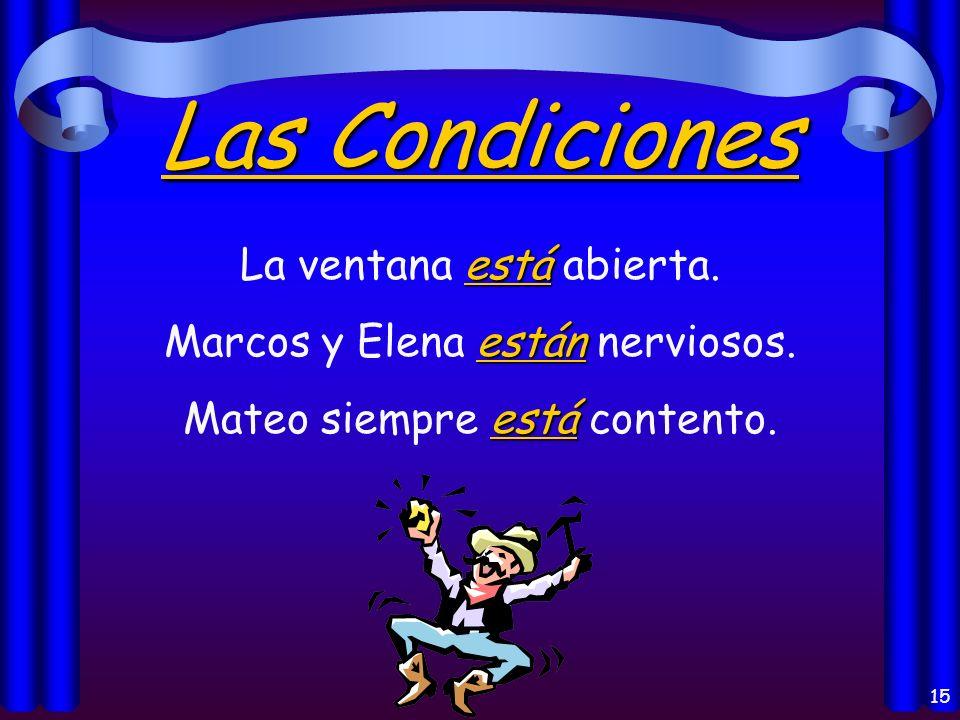 14 La Localización está Madrid está en España. están Mis libros están en mi casa.