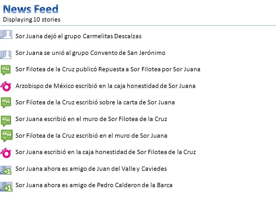 Displaying 10 stories Sor Juana dejó el grupo Carmelitas Descalzas Sor Juana se unió al grupo Convento de San Jerónimo Sor Filotea de la Cruz publicó