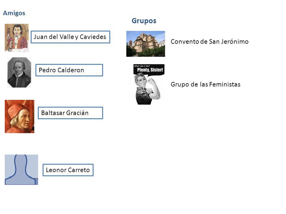 Amigos Juan del Valle y Caviedes Pedro Calderon Baltasar Gracián Leonor Carreto Grupos Convento de San Jerónimo Grupo de las Feministas