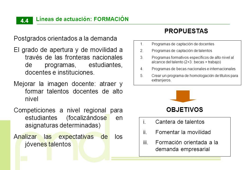 Líneas de actuación: FORMACIÓN 4.4 1.Programas de captación de docentes 2.Programas de captación de talentos 3.Programas formativos específicos de alt
