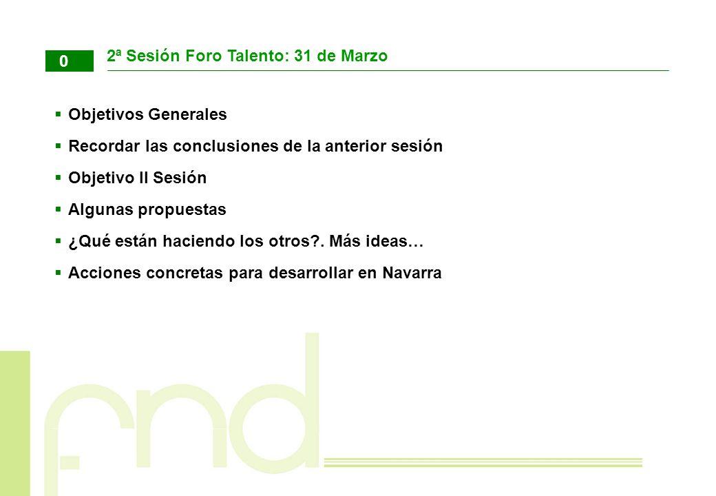 2ª Sesión Foro Talento: 31 de Marzo Objetivos Generales Recordar las conclusiones de la anterior sesión Objetivo II Sesión Algunas propuestas ¿Qué est