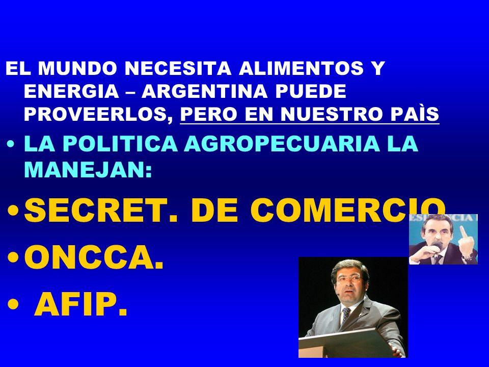 EL MUNDO NECESITA ALIMENTOS Y ENERGIA – ARGENTINA PUEDE PROVEERLOS, PERO EN NUESTRO PAÌS LA POLITICA AGROPECUARIA LA MANEJAN: SECRET. DE COMERCIO ONCC