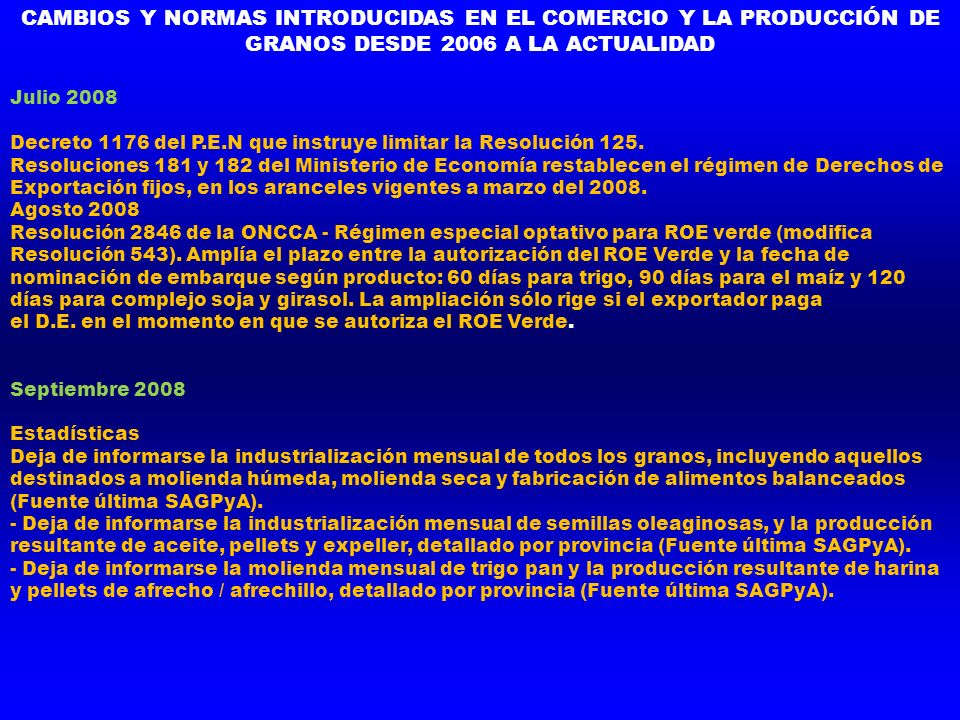 Julio 2008 Decreto 1176 del P.E.N que instruye limitar la Resolución 125. Resoluciones 181 y 182 del Ministerio de Economía restablecen el régimen de