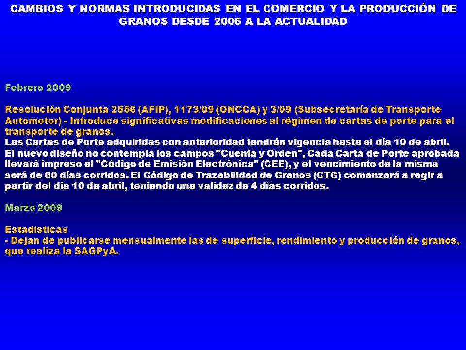 CAMBIOS Y NORMAS INTRODUCIDAS EN EL COMERCIO Y LA PRODUCCIÓN DE GRANOS DESDE 2006 A LA ACTUALIDAD Febrero 2009 Resolución Conjunta 2556 (AFIP), 1173/0