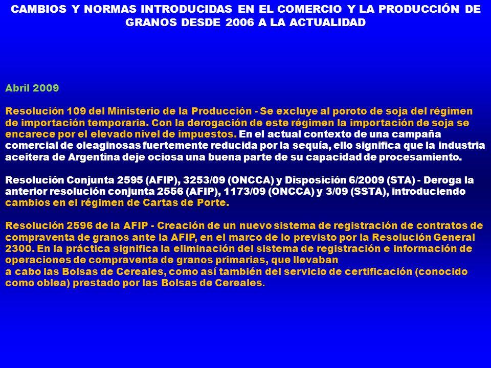 Abril 2009 Resolución 109 del Ministerio de la Producción - Se excluye al poroto de soja del régimen de importación temporaria. Con la derogación de e