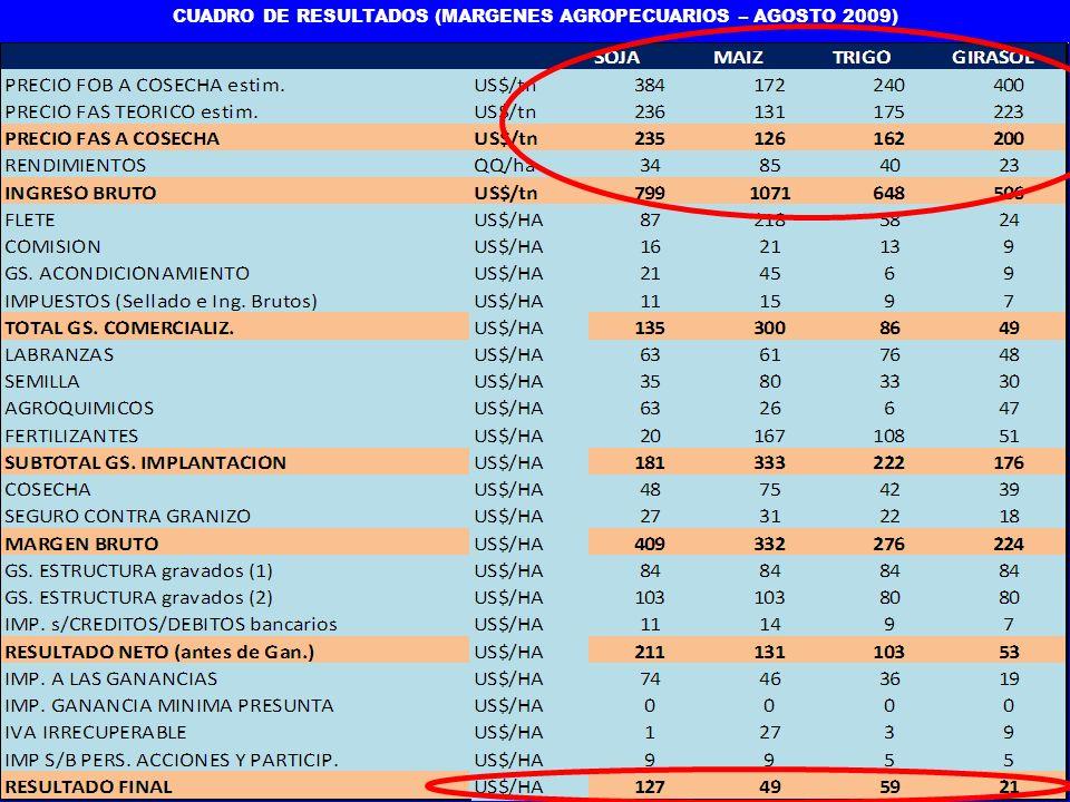 CUADRO DE RESULTADOS (MARGENES AGROPECUARIOS – AGOSTO 2009)