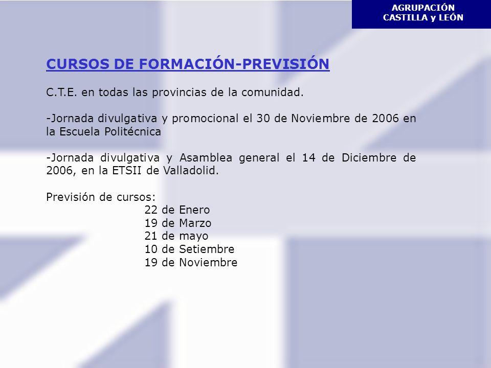 CURSOS DE FORMACIÓN-PREVISIÓN C.T.E. en todas las provincias de la comunidad.