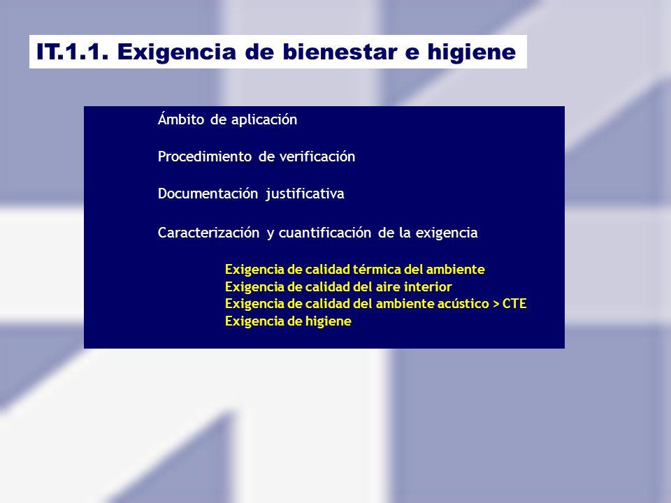 IT.1.1. Exigencia de bienestar e higiene Ámbito de aplicación Procedimiento de verificación Documentación justificativa Caracterización y cuantificaci