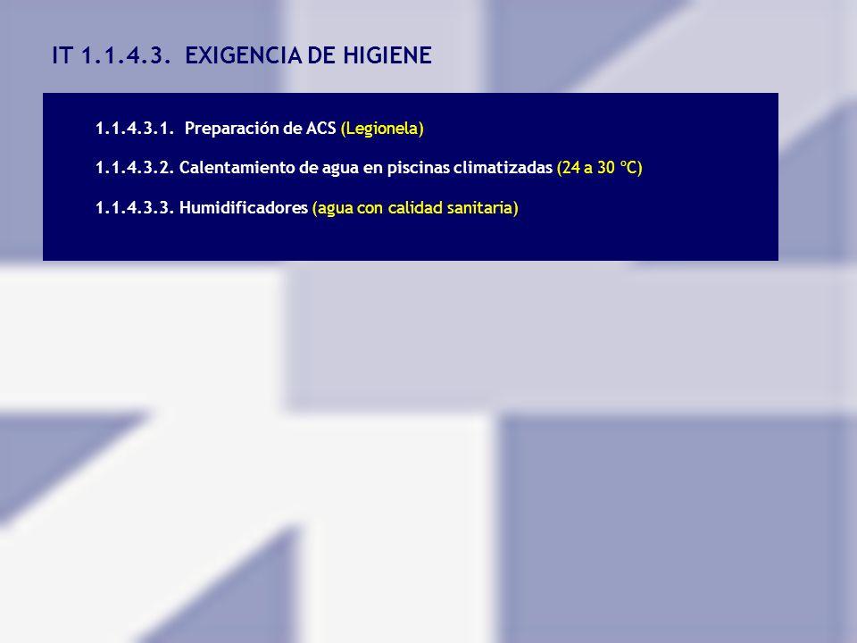 IT 1.1.4.3. EXIGENCIA DE HIGIENE 1.1.4.3.1. Preparación de ACS (Legionela) 1.1.4.3.2. Calentamiento de agua en piscinas climatizadas (24 a 30 ºC) 1.1.