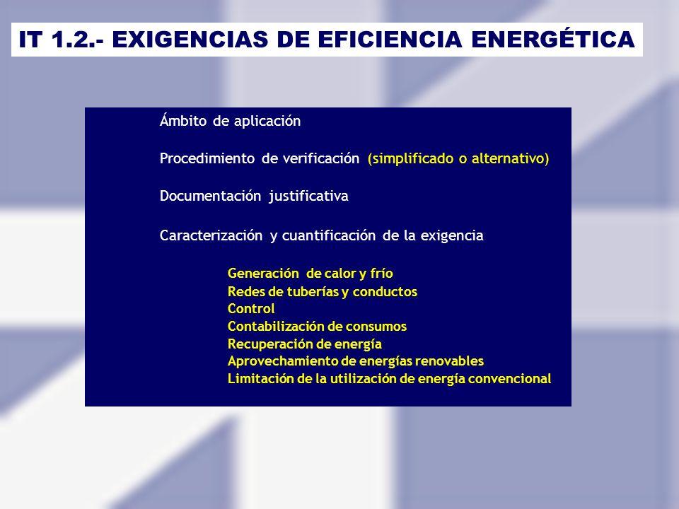 IT 1.2.- EXIGENCIAS DE EFICIENCIA ENERGÉTICA Ámbito de aplicación Procedimiento de verificación (simplificado o alternativo) Documentación justificati