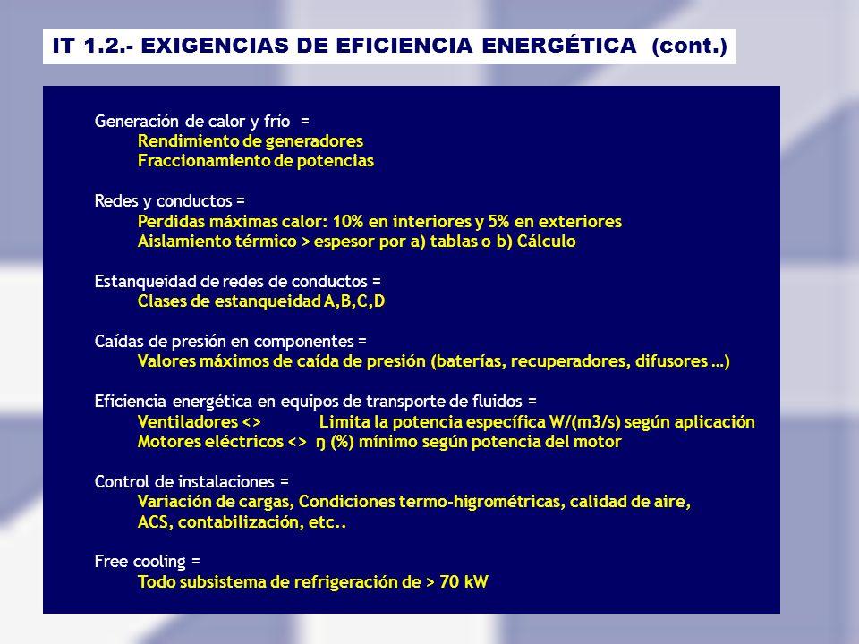 IT 1.2.- EXIGENCIAS DE EFICIENCIA ENERGÉTICA (cont.) Generación de calor y frío = Rendimiento de generadores Fraccionamiento de potencias Redes y cond