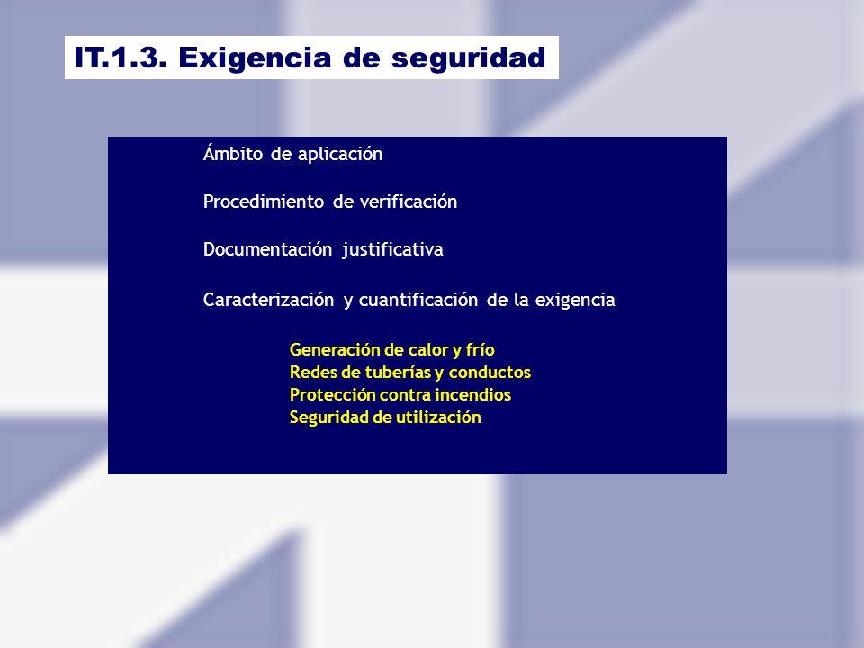 IT.1.3. Exigencia de seguridad Ámbito de aplicación Procedimiento de verificación Documentación justificativa Caracterización y cuantificación de la e