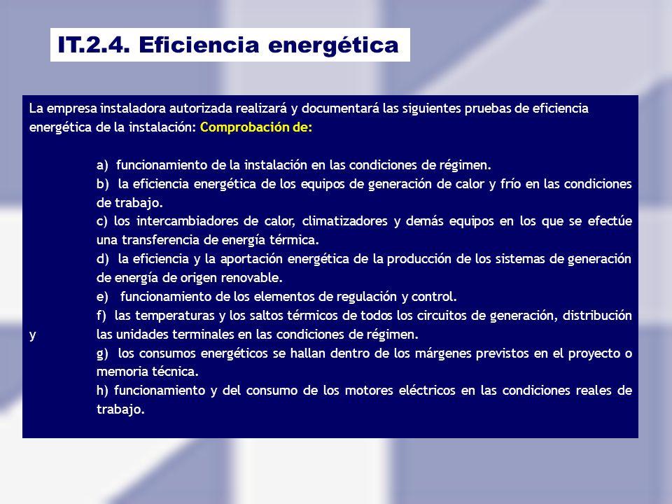 IT.2.4. Eficiencia energética La empresa instaladora autorizada realizará y documentará las siguientes pruebas de eficiencia energética de la instalac