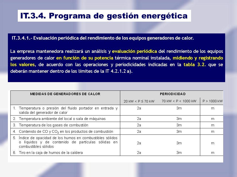 IT.3.4. Programa de gestión energética IT.3.4.1.- Evaluación periódica del rendimiento de los equipos generadores de calor. La empresa mantenedora rea