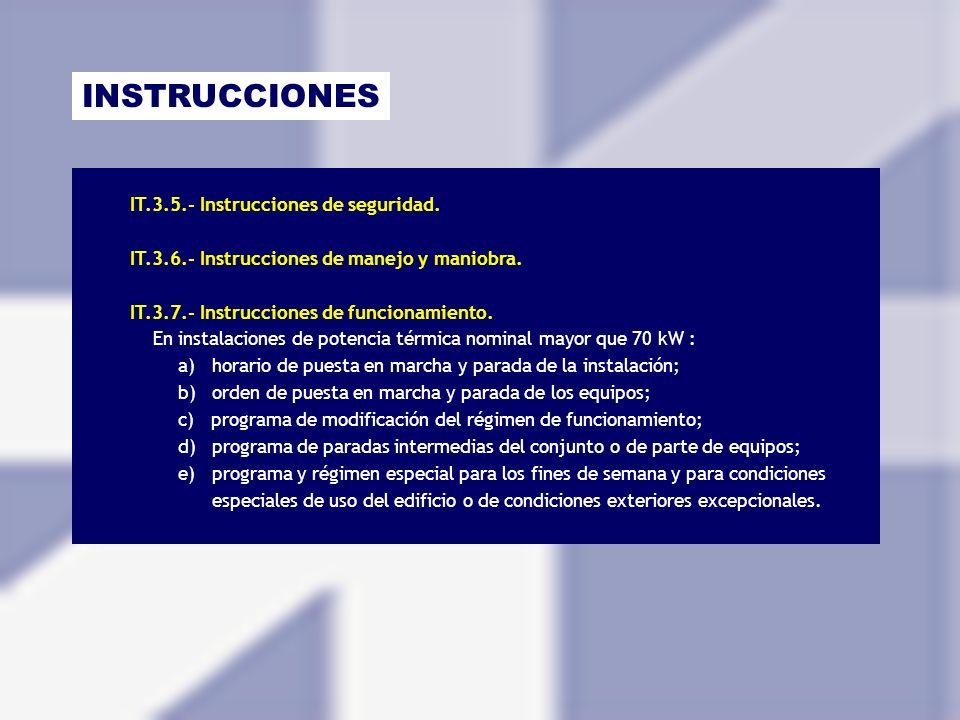 INSTRUCCIONES IT.3.5.- Instrucciones de seguridad. IT.3.6.- Instrucciones de manejo y maniobra. IT.3.7.- Instrucciones de funcionamiento. En instalaci