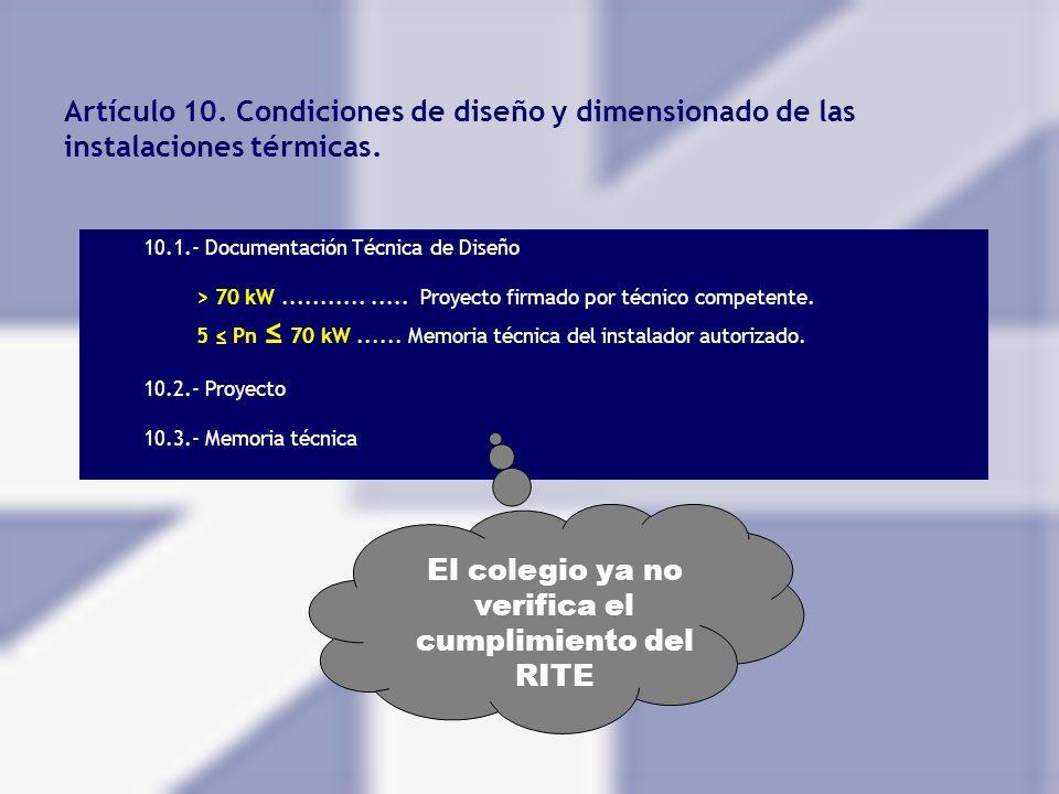 Artículo 10. Condiciones de diseño y dimensionado de las instalaciones térmicas. 10.1.- Documentación Técnica de Diseño > 70 kW................ Proyec